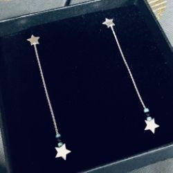 Kolczyki gwiazdki na łańcuszku z kamieniami srebro 925