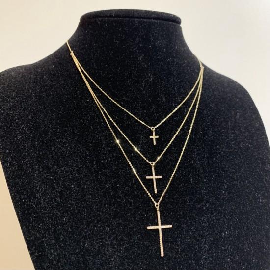 Naszyjnik typu kolia z krzyżykami wysadzanymi cyrkoniami złoto 9 ky