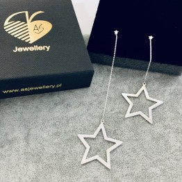 Kolczyki duże gwiazdy na łańcuszku srebro 925