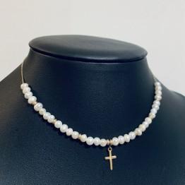 Choker perły i krzyż 9ky