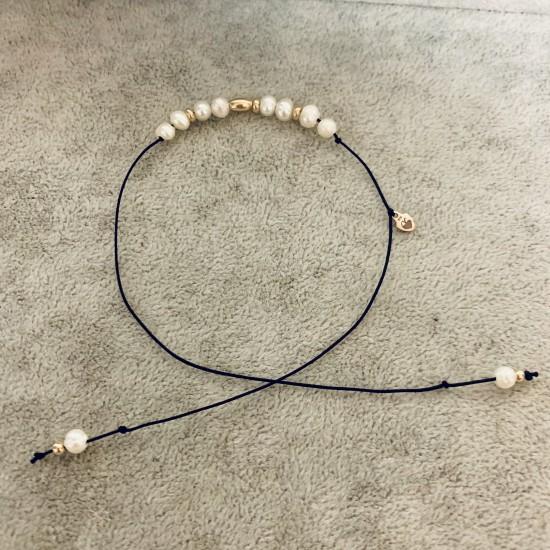 Bransoletka nitka perły i złoto 9ky