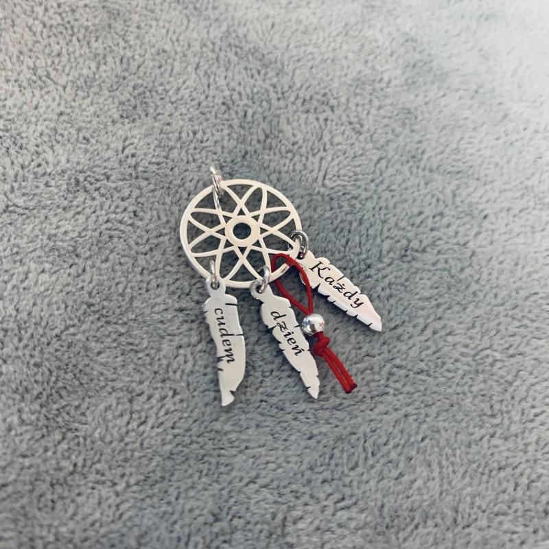 Masywnie Zawieszka łapacz snów grawer czerwona nitka srebro 925 - AS Jewellery SS03