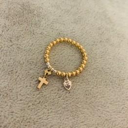 Pierścionek z kulek złoto srebro z krzyżykiem