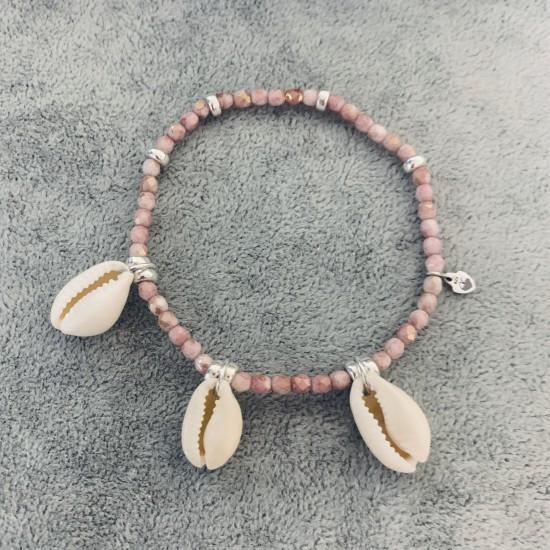 Bransoletka z koralików różowych i muszli srebro 925