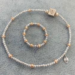 Komplet bransoletka ze złotą kostką oraz pierścionek z kulek 9ky