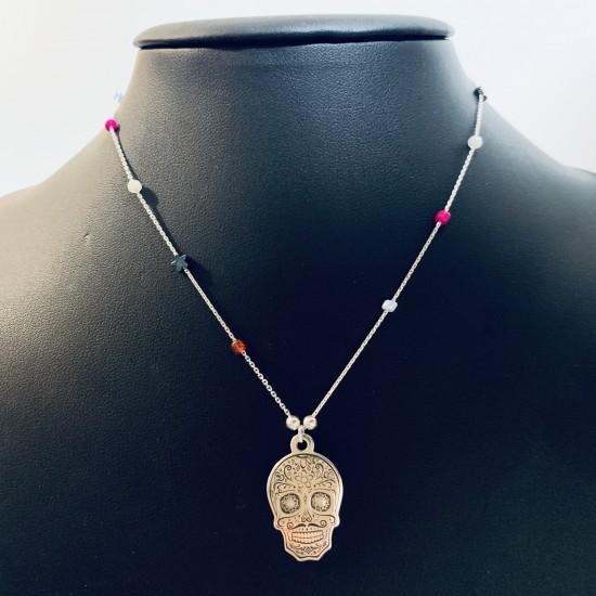 Naszyjnik grawerowana czaszka i kolorowe kamienie srebro 925