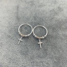 Kolczyki koła 16 mm z krzyżykami