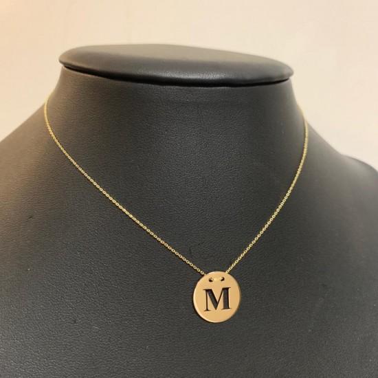 Naszyjnik z kołem i ażurową dowolną literą złoto 9 ky