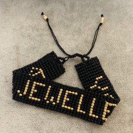 Bransoletka pleciona z napisem AS Jewellery