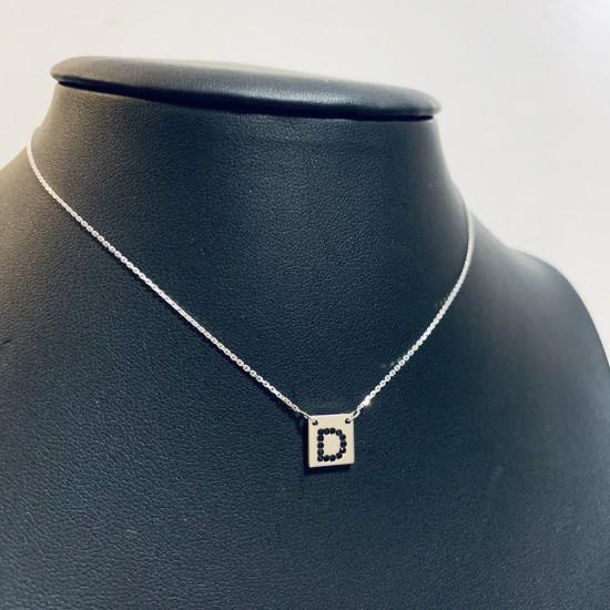 Naszyjnik z kwadratem i dowolną literką z cyrkoniami srebro 925