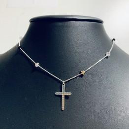 Naszyjnik choker krzyż grawerowany gwiazdkami