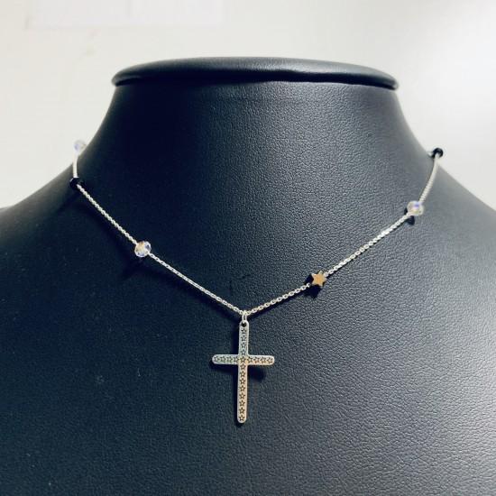 Choker z krzyżem i grawerowanymi gwiazdkami 925 srebro