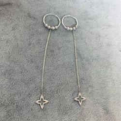 Kolczyki koła z zawieszką na łańcuszku srebro 925