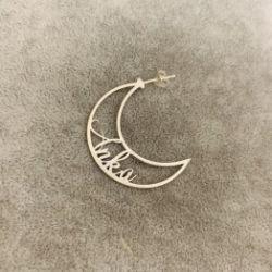 Kolczyki ażurowe księżyce z dowolnym napisem 925 srebro