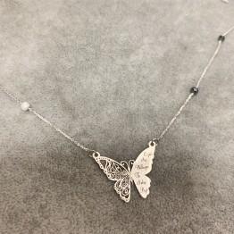 Naszyjnik grawerowany motyl z kamieniami srebro 925