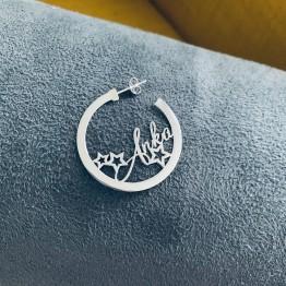 Kolczyki koła z dowolnym napisem do 6 liter silver 925