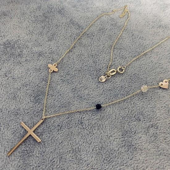 Naszyjnik BOHO cross, oxalis, heart ze złota 9ky