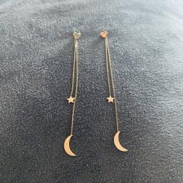 Kolczyki myszka miki z zawieszkami księżyc z gwiazdką złoto 9ky