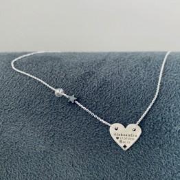 Naszyjnik serce z grawerem gwiazdką i kamieniem srebro 925
