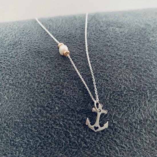 Naszyjnik kotwica z perłą srebro 925