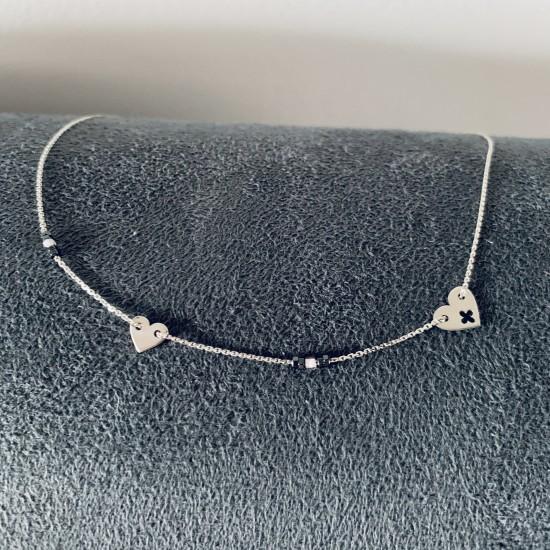 Naszyjnik serca i kamienie srebro 925