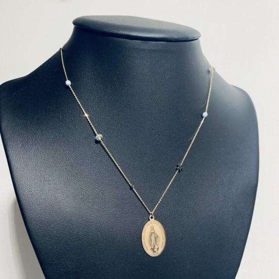 Naszyjnik medalik Madonna boho kamienie gwiazdka dwustronnie grawerowana srebro 925