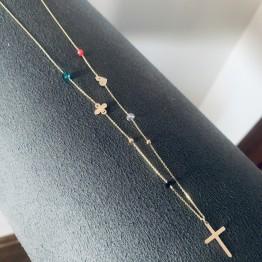 Naszyjnik kolorowe kamienie krzyż oxalis serce boho