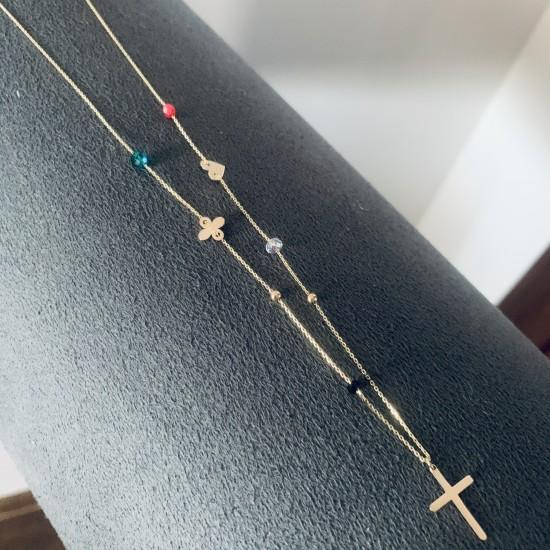 Naszyjnik kolorowe kamienie krzyż oxalis serce