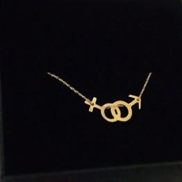 Naszyjnik znak kobiety i mężczyzny ze złota 14 karat