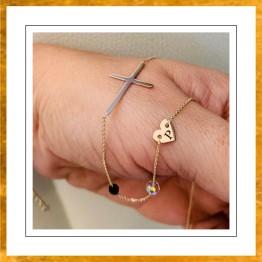 Naszyjnik krzyż poprzeczny oxalis hearts boho