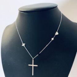 Naszyjnik krzyż oxalis serce boho