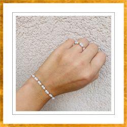 Bransoletka i pierścionek komplet biało-złoty