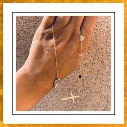 Naszyjnik krzyż poprzeczny piórko hearts boho