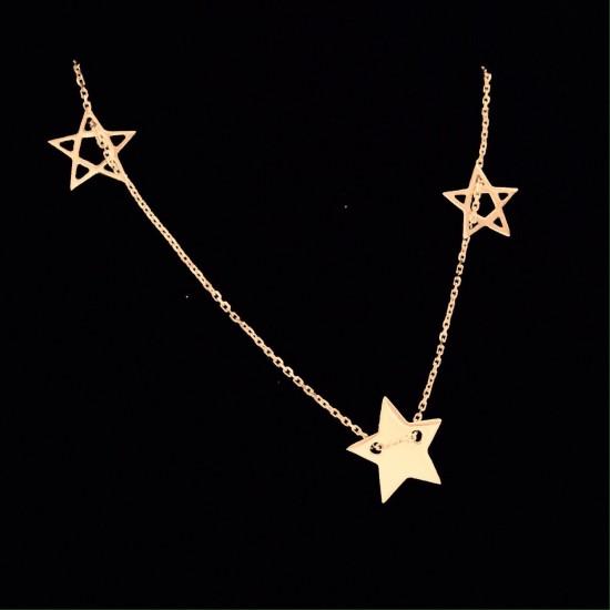 Naszyjnik trzy gwiazdki ze złota 14ky