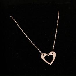 Naszyjnik z wyciętym sercem w sercu ze złota 14ky