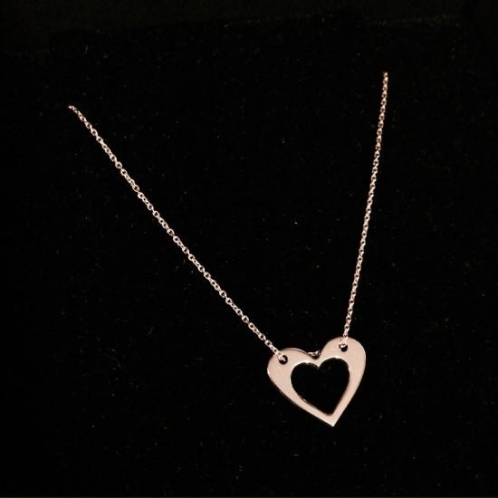 Naszyjnik serce w sercu złoto 9ky