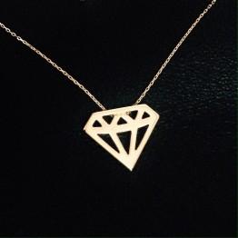 Naszyjnik diament złoto 9ky