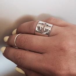 Szeroka obrączka z kotwicą ze srebra 925