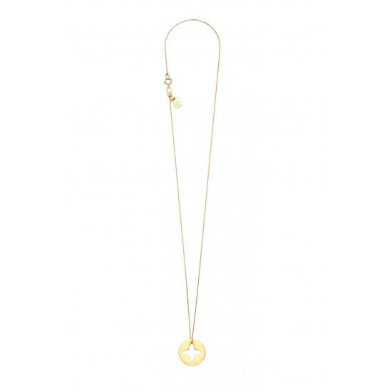 Naszyjnik kòłko z lilijką złoto 14ky