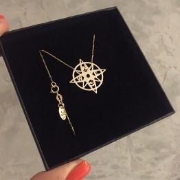 Naszyjnik kompas złoto 9ky