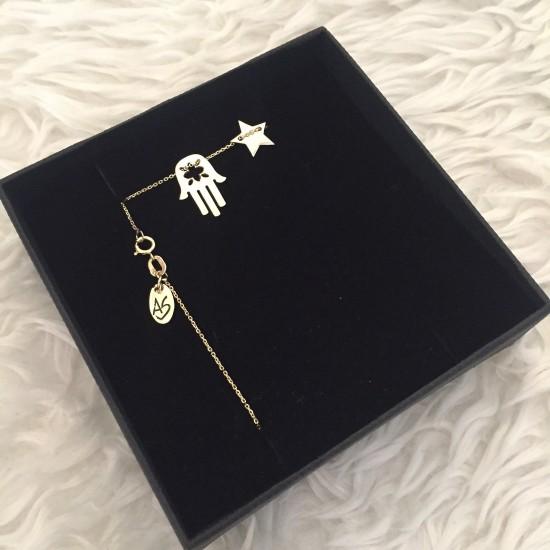 Naszyjnik ręka Fatimy i gwiazdka złoto 9ky
