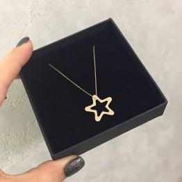 Naszyjnik z dużą ażurową gwiazdką ze złota 9ky